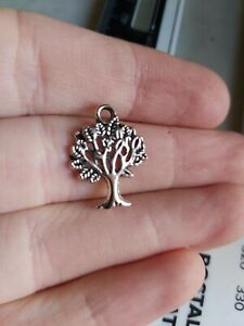 30 Tree Silver tone Antinique Charms Pendant UK (A300) 20x11mm
