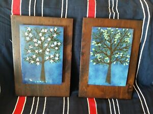 Mid Century Modern Pair Enamel on Copper Abstract Wall Art Plaques Trees