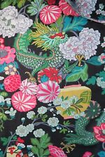 SCHUMACHER CURTAIN FABRIC DESIGN Chiang Mai Dragon 3 METRES  EBONY 100%  LINEN
