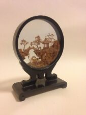 Chinese Carved Cork Pagoda Miniature Sculpture In Glass Display Case Vintage