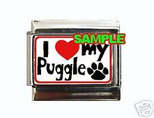 I Love My Puggle Custom Italian Charm Paw Heart!