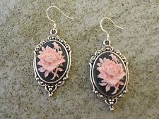 ROSE CAMEO EARRINGS!!!  (pink/black) .925 silv. stamped hooks!!!  QUALITY!!!!