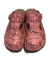 Algeria Mules Good Used Condition Red Scribble Print Women's Us 8 Eur 38