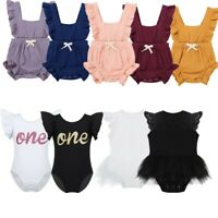 Newborn Infant Baby Girls Ruffle Romper Dress One-Pieces Cotton Jumpsuit Outfit