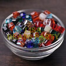 New 10pcs 8mm Cube Square Faceted Crystal Glass Loose Spacer Beads Random Mixed