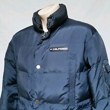 VTG Tommy Hilfiger Coat 90's Puffer Bubble Duck Down Spell Out Flag Jacket Small