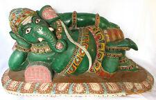 Hindu God Ganesha Wooden Carved Elephant God India Temple+Ganesha Wall Hanging