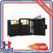 Portefeuille Homme Cuir Véritable Porte Monnaie Classique Carte de Crédit Billet