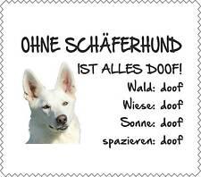 """Displayreinigunstuch WEIßER Schäferhund """"ALLES DOOF"""" Brillenputztuch Hund GT0010"""