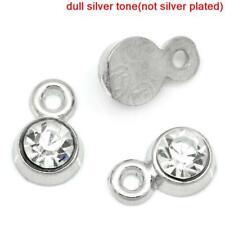 10 pcs April  rhinestone birthstone charm Silver Tone 8mm, Clear