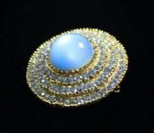 Vintage Blue Moonglow Pave Rhinestone Circle Brooch Gold Tone