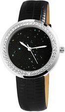 Uhr Armbanduhr Damenuhr Armband Kunst-Leder silber schwarz Strass Glitzer
