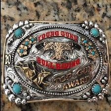 Rowdy SIlver Trophy Belt Buckle Custom Logo/Name Rubies Awards Rodeo Champion