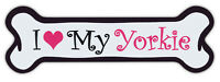 Pink Dog Bone Shaped Magnets: I Love My Yorkie (Yorkshire Terrier)   Cars