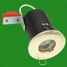 1x IP65 Fire Rated LED 12V MR16 GX5.3 Brass Shower Ceiling Spot Down Light