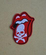 patch, écusson rolling stones tete de mort , skull, brodé, thermocollant 6.5/5cm