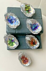 ORIGINAL VINTAGE SET OF 6 DIFFERENT CLEAR CRYSTALS YOWIES GEM ORNAMENTS + PAPERS