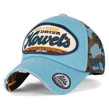ililily Howels Camouflage Baseball Mesh Cap Distressed Vintage Trucker Hat , Sky