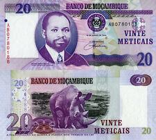 "MOZAMBIQUE 20 Meticais, 2006 Polymer money, P149a, UNC,  Prefix ""Rhino"""
