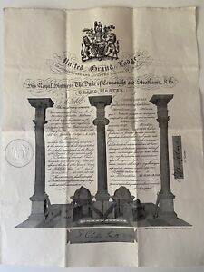 UNITED GRAND LODGE ANCIENT FREE & ACCEPTED MASONS OF ENGLAND CERTIFICATE 1936 VG