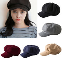 Womens Wool Blend Baker Boy Peaked Cap Belet Newsboy Hat with Elastic band n TC