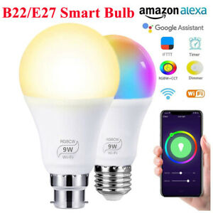 B22/E27 WiFi RGB Smart LED Light Bulb 9W Color Changing App Control Alexa/Google