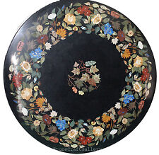 """36"""" Black Round Marble Coffee Table Top Pietra Dura Inlay Work For Home Decor"""