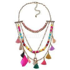 Fashion Long Tassel Feather Beads Pendant Necklace Bohemian Boho Accessory