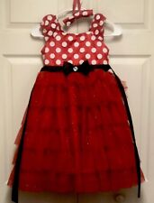 Girls Minnie Mouse Red White Polka Dot Party Dress. Tiered Ruffles Glitter 6x