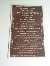 DAVID LIVINGSTONE, Headstone Memorial Born 1813 Died 1873 Nostalgic PC  §D867