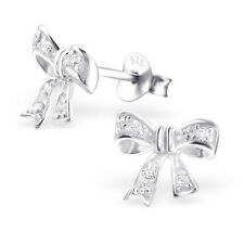 ladies 925 Sterling Silver Bow Stud earrings 10mm x 9mm CZ cubic zirconia