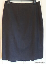 Ann Taylor 4 Charcoal Gray Pin Stripe  Pleated Career Skirt