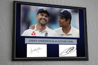 JIMMY ANDERSON ALASTAIR COOK England Cricket Framed Canvas Print Signed.