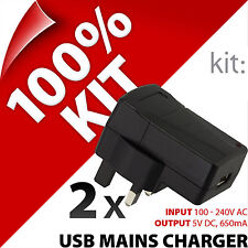 2 x Kit Usb Mains Charger Plug for Mobile Smart Phone Mp3 Player Digital Camera