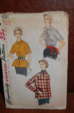 UNCUT Simplicity Vintage 50s Sewing Pattern sz 20 Bust 38 BLOUSE OVERBLOUSE 4081