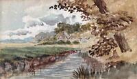 IMPRESSIONIST RIVER IN LANDSCAPE Watercolour Painting THOMAS J JONES c1910