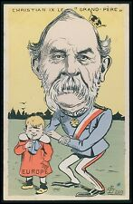 art Lion Denmark royalty Political humor caricature original old 1900s postcard