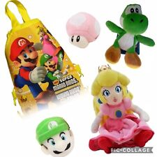 Super Mario Plush Yoshi Princess Peach Luigi Backpack Mushroom Toys Gift Set