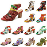SOCOFY Women  Genuine Leather Hand Painted Vintage Shoes Hook Loop Soft Sandals