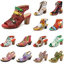 SOCOFY Women  Genuine Leather Hand Painted Vintage Shoes Hook Loop Soft Sandals