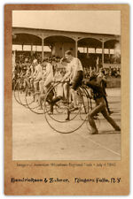 Penny Farthing Bicycle Race 1890 Photograph Cabinet Card Vintage CDV RP