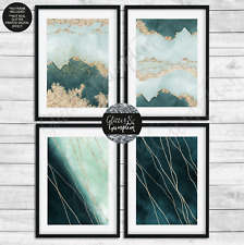 More details for abstract wall art watercolour green gold art print poster home decor print