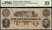 1861 $2 Two Dollar South Carolina Bank Note Large Currency Paper Money Pmg 25