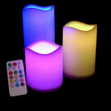 3 PCS LED FLAMELESS PILLAR CANDLE SET W/REMOTE COLOR CHANGING LIGHT CANDLES
