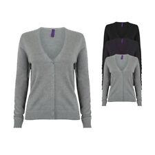 Henbury Damen Strickjacke Cardigan Pullover Jacke Langarm V Ausschnitt Neu H726