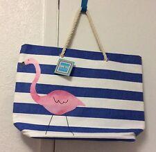 NWT Pink Flamingo Rope Tote Beach Travel Bag