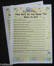 HOW WELL DO YOU KNOW THE MUM TO BE? OWLS DESIGN BABY SHOWER GAME 20 PLAYERS