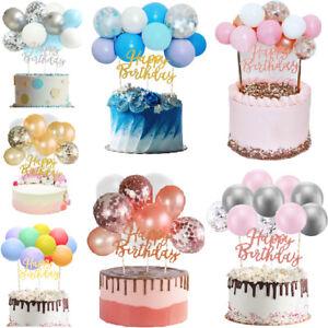 10pcs Confetti Balloon Cake Topper Arch Garland Birthday Wedding Decoration Gold