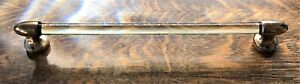 """Antique Glass Towel Rod/Bar 15"""" with Solid Bronze Mounting Hardware from England"""