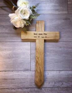 "Memorial Cross 28"" Free Plaque & Free Engraving woodland burial grave marker oak"